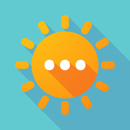 ellipsis: Illustration of a long shadow sun with  an ellipsis orthographic sign