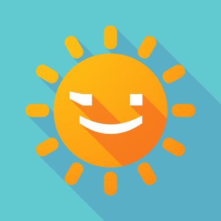 wink: Illustration of a long shadow sun with  a wink text face emoticon