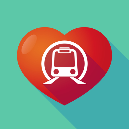 seduce: Illustration of a long shadow red heart with  a subway train icon