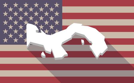 bandera de panama: Ilustración de un icono de la bandera EE.UU. larga sombra del vector con el mapa de Panamá