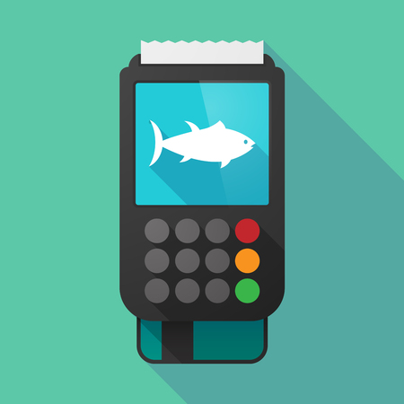 tuna fish: Illustration of a long shadow dataphone with  a tuna fish Illustration