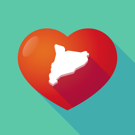 seduction: Illustration of a long shadow red heart with  the map of Catalonia