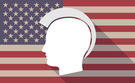 punk hair: Illustration of a long shadow vector USA flag icon with   a male punk head silhouette Illustration