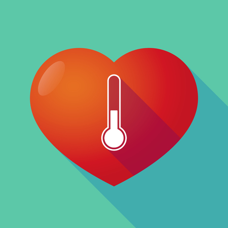 seduction: Illustration of a long shadow red heart with  a thermometer icon Illustration