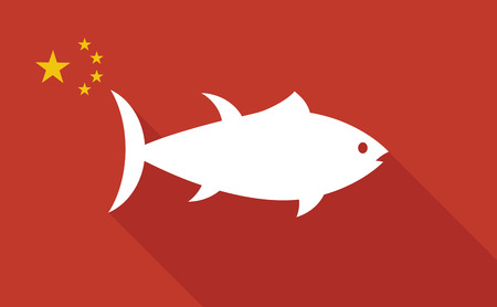 tuna fish: Illustration of a China long shadow flag with   a tuna fish
