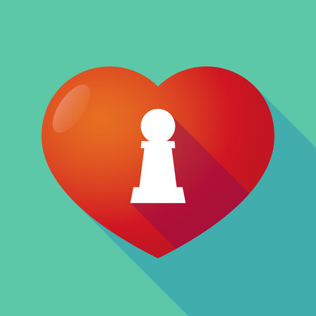 love strategy: Illustration of a long shadow red heart with a  pawn chess figure Illustration