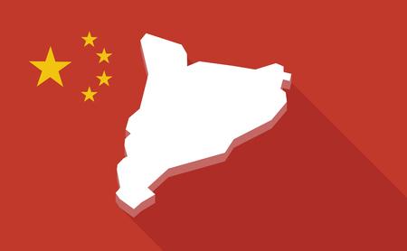 autonomia: Ilustración de una bandera larga sombra de China con el mapa de Cataluña