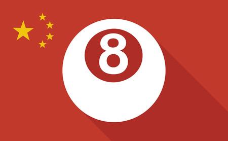 bola de billar: Ilustraci�n de una bandera larga sombra de China con una bola de billar