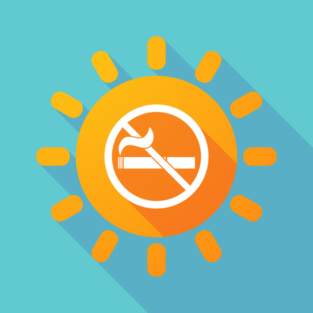 abstain: Illustration of a long shadow sun with  a no smoking sign