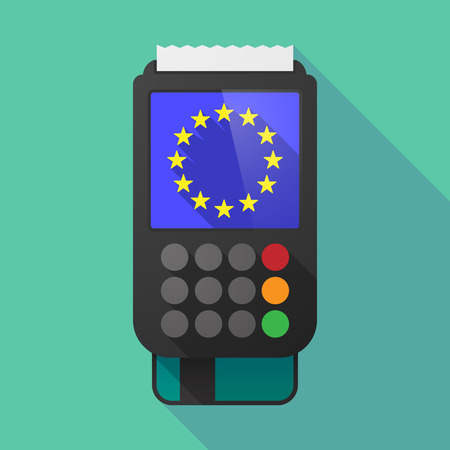 consumer society: Illustration of a long shadow dataphone with    the EU flag stars
