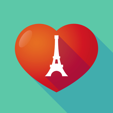 seduction: Illustration of a long shadow red heart with   the Eiffel tower