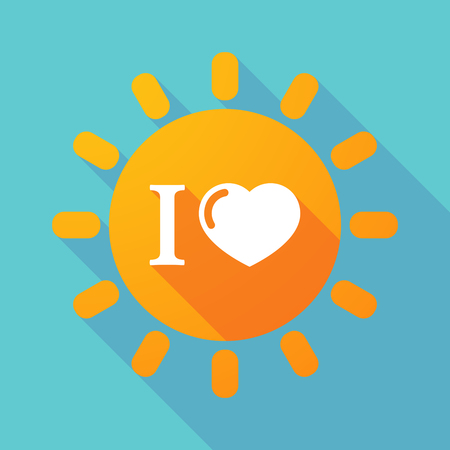 glyph: Illustration of a long shadow sun with  an  I like glyph Illustration