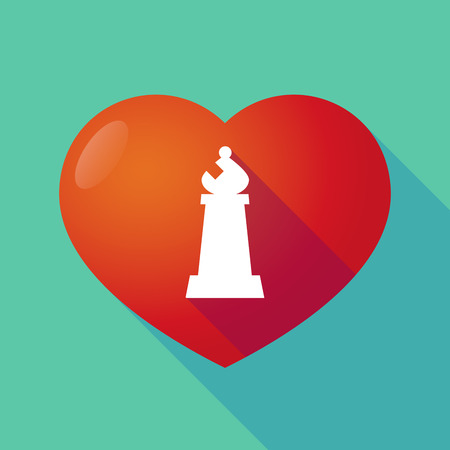 love strategy: Illustration of a long shadow red heart with a bishop    chess figure Illustration