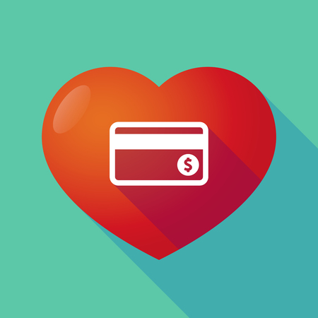 seduction: Illustration of a long shadow red heart with  a credit card