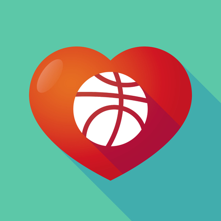 seduction: Illustration of a long shadow red heart with  a basketball ball