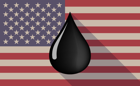 petroleum blue: Illustration of a long shadow vector USA flag icon with   an oil drop icon Illustration