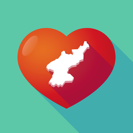 asian wedding couple: Illustration of a long shadow red heart with  the map of North Korea