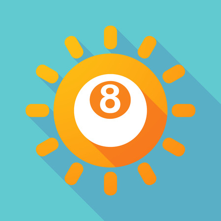 pool ball: Illustration of a long shadow sun with  a pool ball