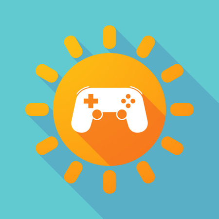 game pad: Illustration of a long shadow sun with  a game pad