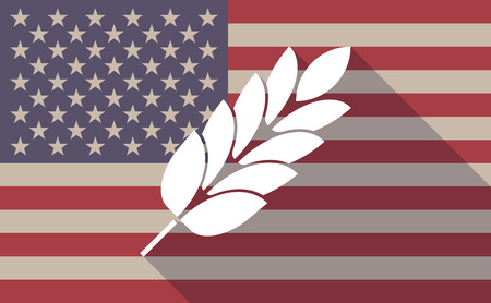 cereal bar: Illustration of a long shadow vector USA flag icon with   a wheat plant icon