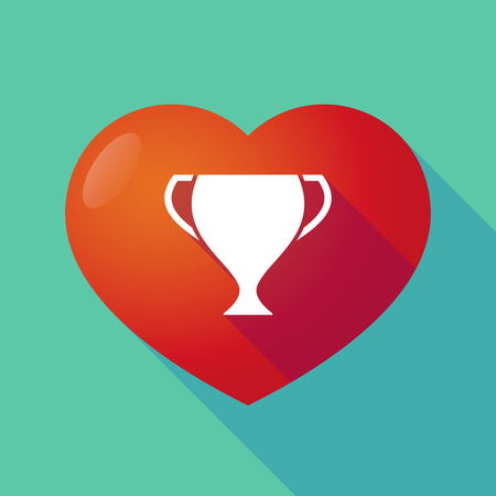 winning proposal: Illustration of a long shadow red heart with  an award cup Illustration