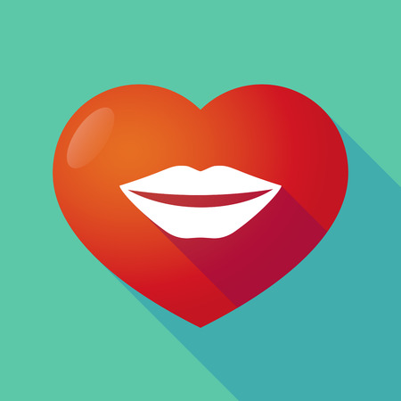 long mouth: Illustration of a long shadow red heart with  a female mouth smiling