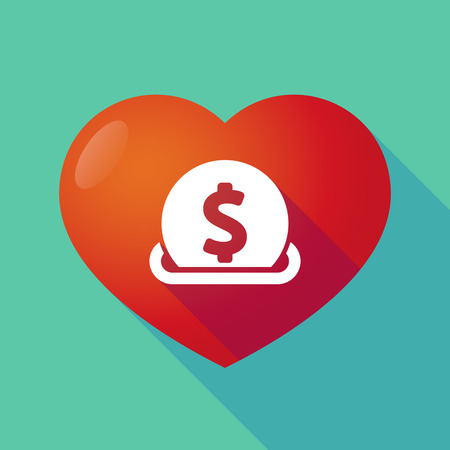 Illustration of a long shadow red heart with  a dollar coin entering in a moneybox Illustration