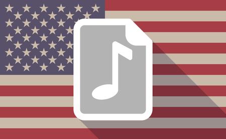 musique partition: Illustration d'un vecteur de longue ombre USA flag icône avec une icône de partition Illustration