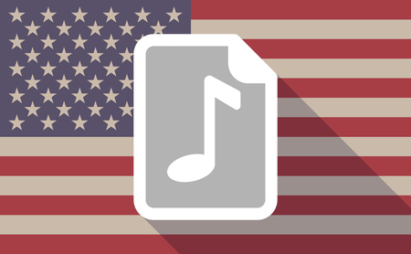 music score: Illustration of a long shadow vector USA flag icon with   a music score icon