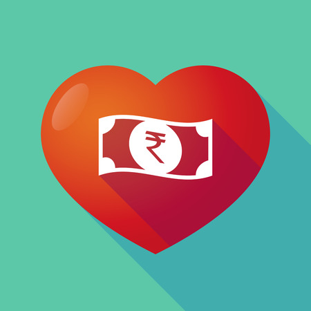 bank note: Illustration of a long shadow red heart with  a rupee bank note icon