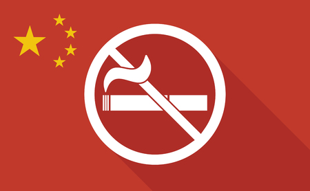 abstain: Illustration of a China long shadow flag with   a no smoking sign