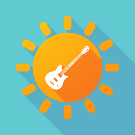 solar equipment: Illustration of a long shadow sun with  an electric guitar