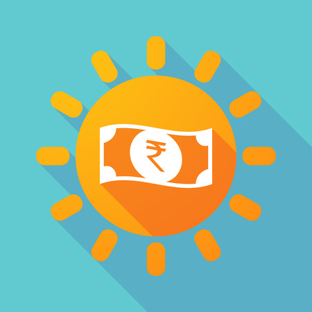 bank note: Illustration of a long shadow sun with  a rupee bank note icon