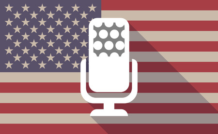 official record: Illustration of a long shadow vector USA flag icon with   a microphone sign