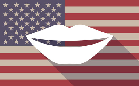 long mouth: Illustration of a long shadow vector USA flag icon with   a female mouth smiling