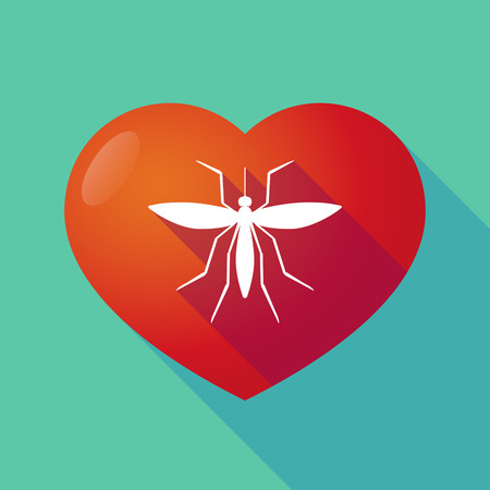 bloodsucker: Illustration of a long shadow red heart with  a mosquito Illustration