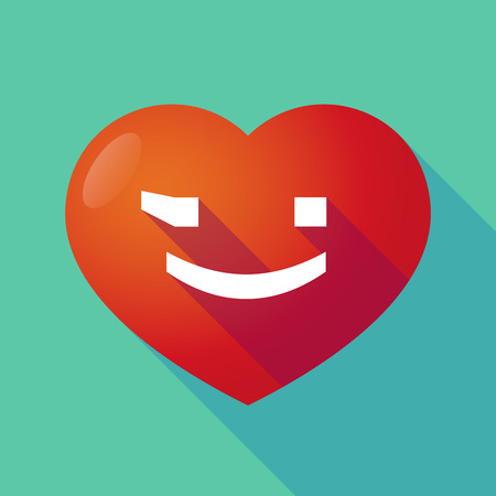 wink: Illustration of a long shadow red heart with  a wink text face emoticon Illustration