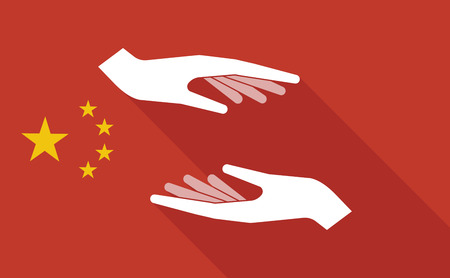give and take: Illustration of a China long shadow flag with   two hands giving and receiving  or protecting Illustration