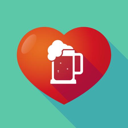 tarro cerveza: Ilustración de un corazón rojo sombra larga con un icono de jarra de cerveza Vectores