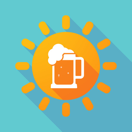 Illustration of a long shadow sun with  a beer jar icon