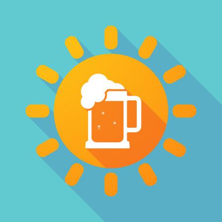tarro cerveza: Ilustración de una larga sombra de sol con un icono de jarra de cerveza