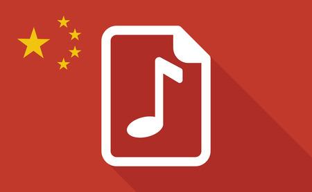 partition musique: Illustration d'un drapeau long ombre Chine avec une ic�ne de partition