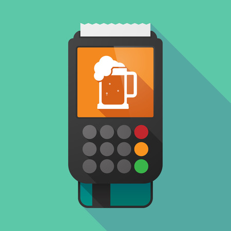 beer jar: Illustration of a long shadow dataphone with  a beer jar icon