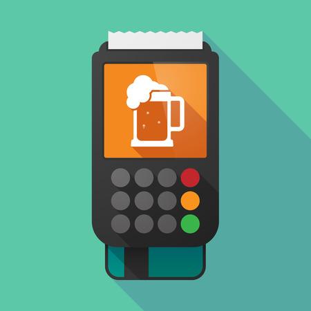 tarro cerveza: Ilustración de un largo datáfono sombra con un icono de jarra de cerveza