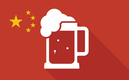 beer jar: Illustration of a China long shadow flag with   a beer jar icon