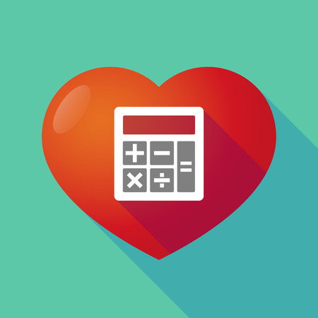 seduction: Illustration of a long shadow red heart with  a calculator Illustration