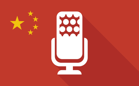 Illustration of a China long shadow flag with   a microphone sign