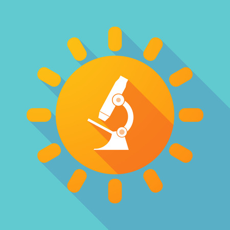 microscope lens: Illustration of a long shadow sun with  a microscope icon