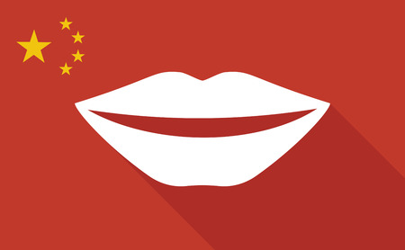 long mouth: Illustration of a China long shadow flag with   a female mouth smiling Illustration