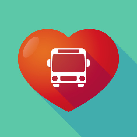 public health services: Illustration of a long shadow red heart with  a bus icon